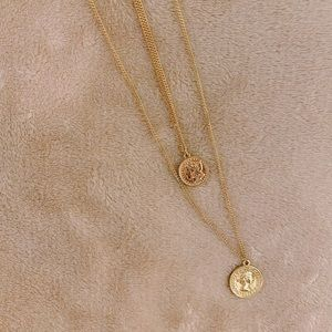 Forever 21 Layered Two Gold Coin Necklaces